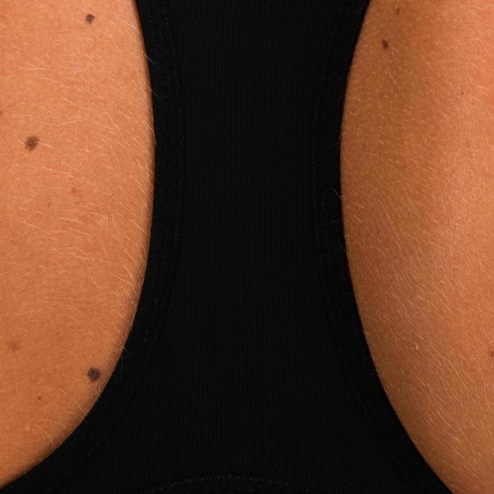 Cardiofitness sportbeha zip voor dames 900 marineblauw met print