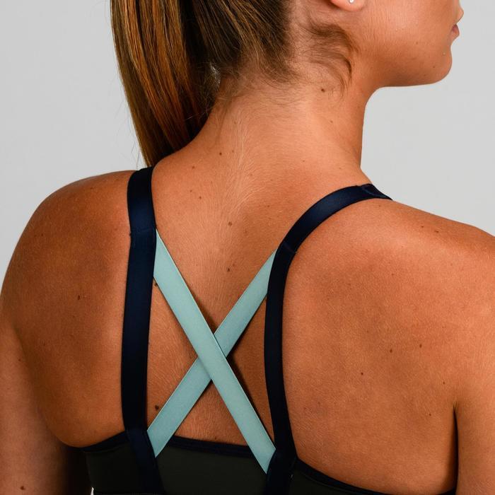 Sujetador-top cardio fitness mujer caqui y verde 520