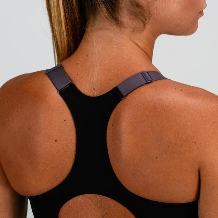 Brassière Zip cardio fitness femme noire imprimée 900