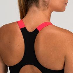 Sport-Bustier Zip 900 Cardio-/Fitnesstraining Damen marineblau mit Print