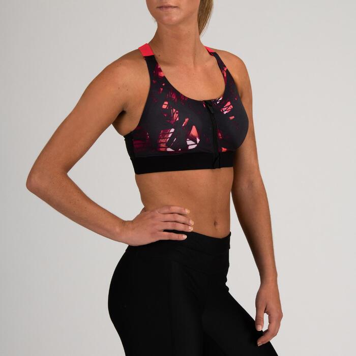 Top Sujetador deportivo Cardio Fitness Domyos FBRA 900 mujer negro rosa