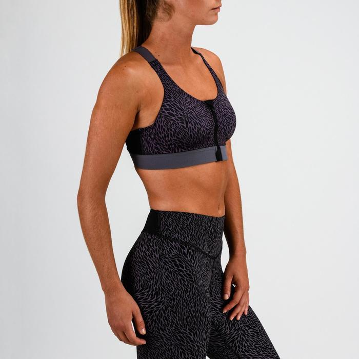 Sujetador-top cremallera cardio fitness mujer negro estampado 900