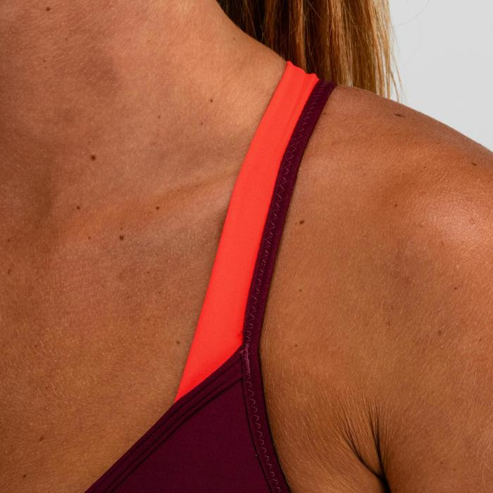 Sujetador-top cardio fitness mujer ciruela 120