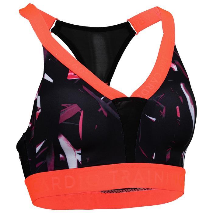 Brassière cardio fitness femme noire imprimée 520