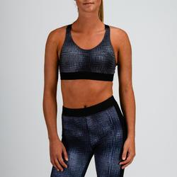 Cardiofitness sportbeha voor dames 500 grijs met print