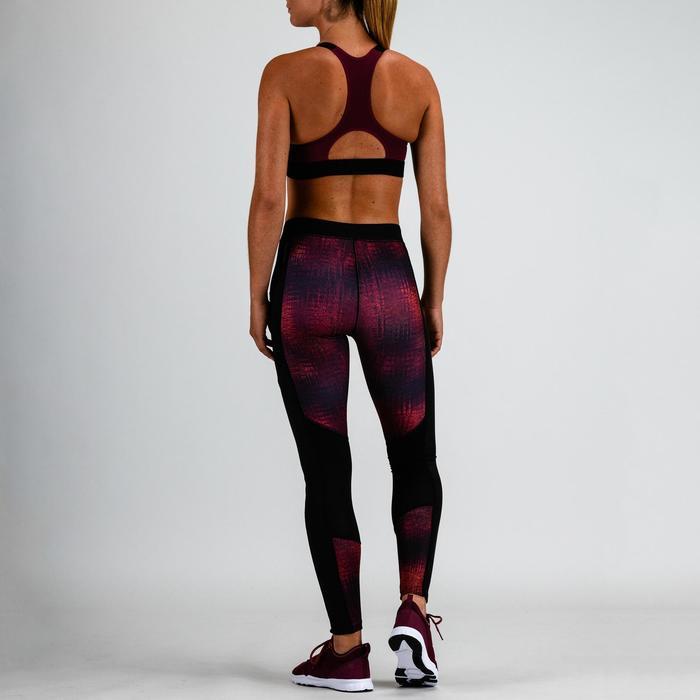 Sport-Bustier 500 Cardio-/Fitnesstraining Damen bordeaux mit Print