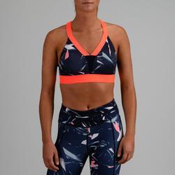 Top Sujetador Deportivo Cardio Fitness Domyos 500 mujer azul marino estampado