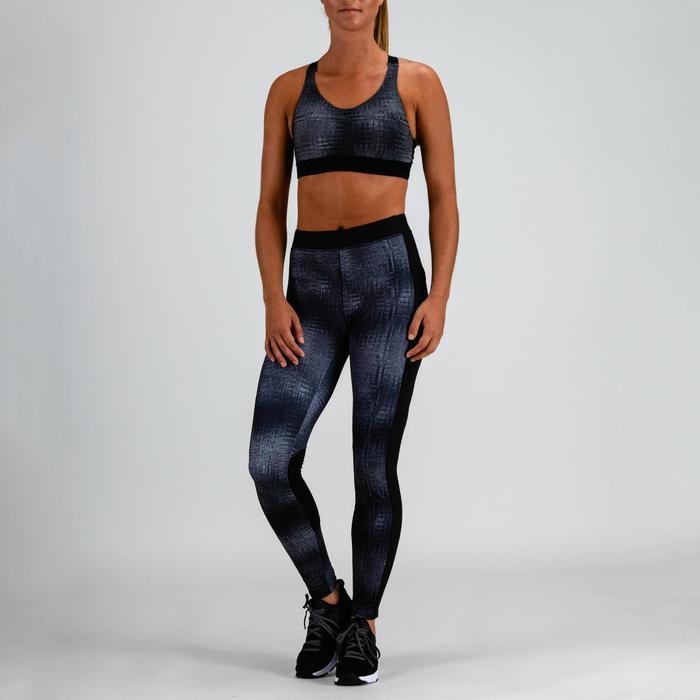 Sujetador-top cardio fitness mujer gris estampado 500