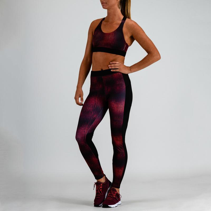 Top cardio fitness mujer burdeo estampado 500