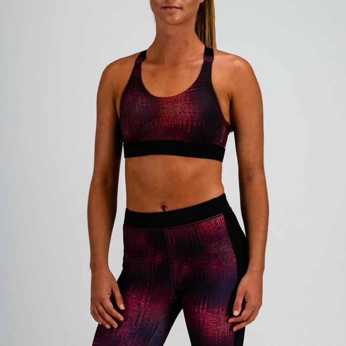 Sujetador-top cardio fitness mujer burdeos estampado 500