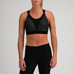 Sujetador-top cardio fitness mujer gris jaspeado 520