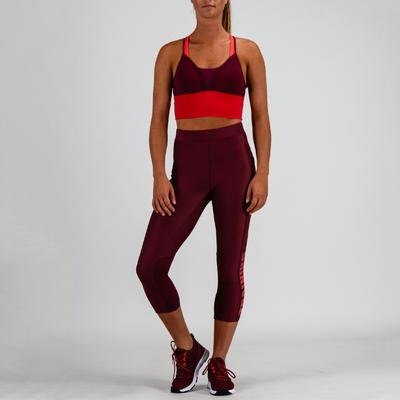 Brasier top deportivo Cardio Fitness Domyos 120 mujer rosado ciruela
