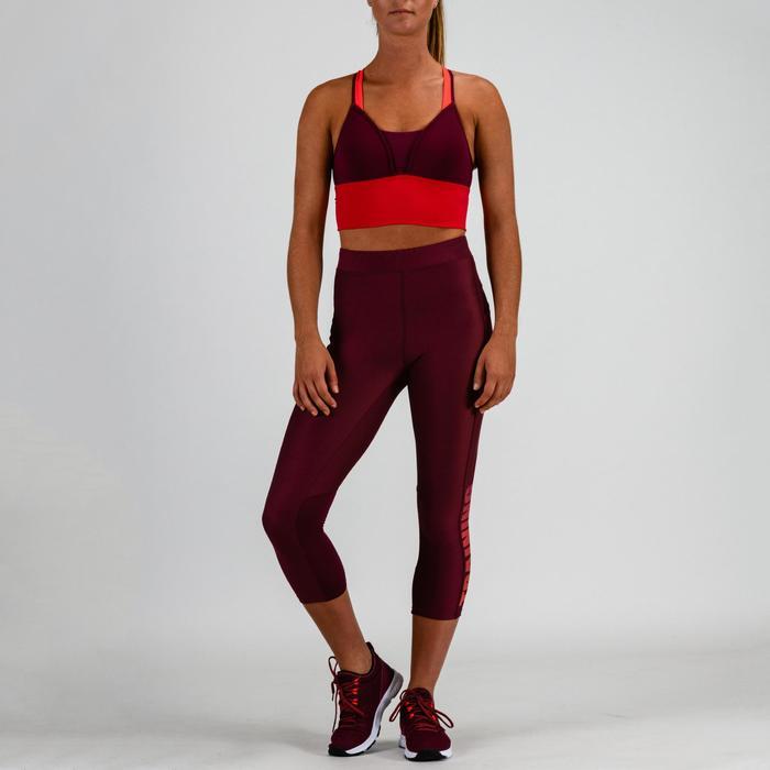 Top Sujetador deportivo Cardio Fitness Domyos 120 mujer rosa ciruela