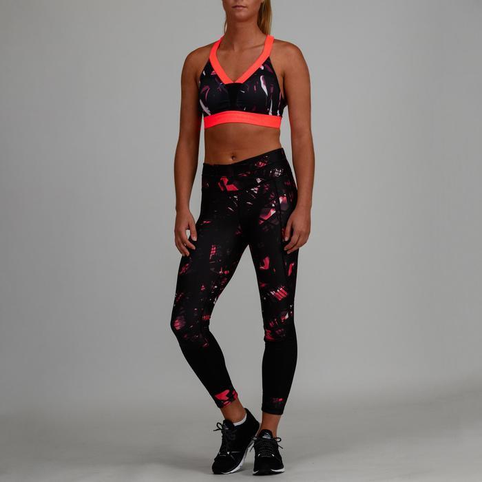 Sport-Bustier 520 Fitness Cardio Damen schwarz mit Print