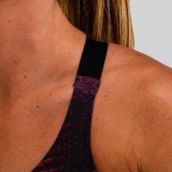 Brassière cardio fitness femme bordeaux imprimée 500