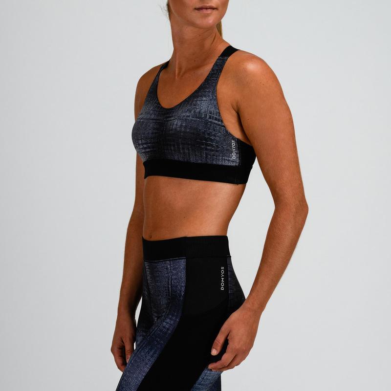 Top cardio fitness mujer gris estampado 500