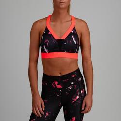 Sport-Bustier 520 Cardio-/Fitnesstraining Damen schwarz mit Print