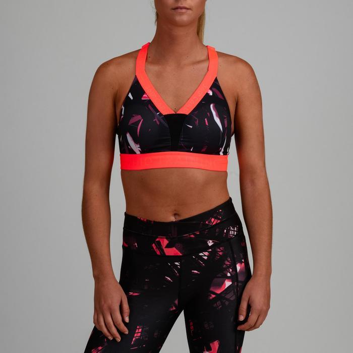 Sujetador-top cardio fitness mujer negro estampado 520
