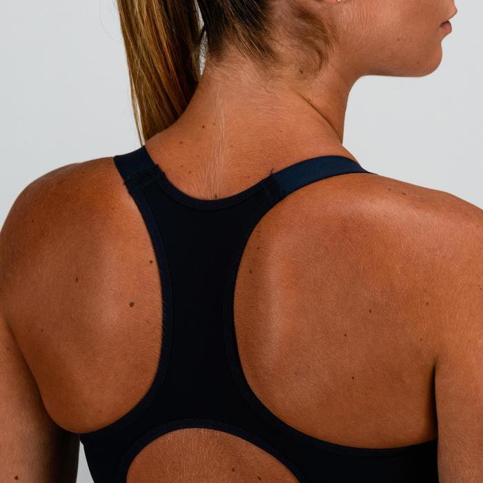 Sujetador-top cardio fitness mujer azul marino estampado 500