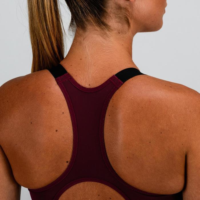 Sport-Bustier 500 Fitness Cardio Damen bordeaux mit Print