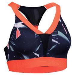 Cardiofitness sportbeha voor dames 520 marineblauw met print