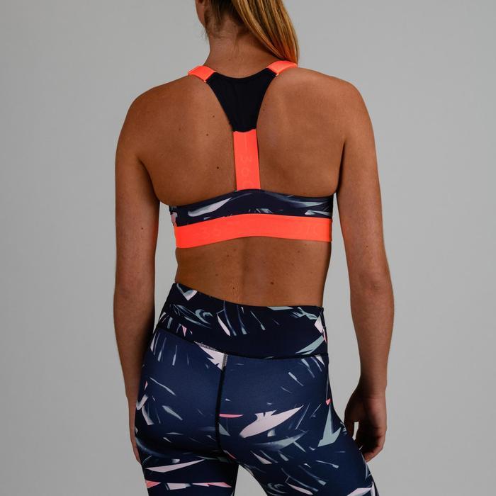 Sport-Bustier 520 Cardio-/Fitnesstraining Damen marineblau mit Print