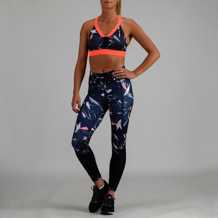 Sport-Bustier 520 Fitness Cardio Damen marineblau mit Print
