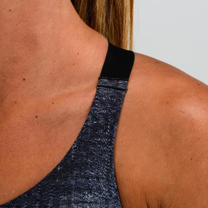 Sport-Bustier 500 Fitness Cardio Damen grau mit Print