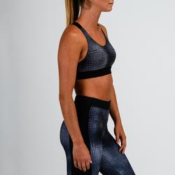 Brassière cardio fitness femme gris imprimée 500