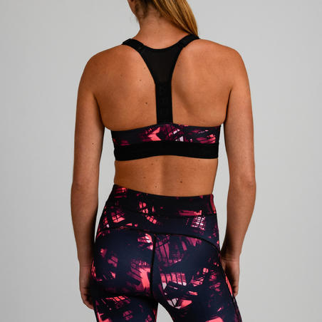 520 Women's Cardio Fitness Sports Bra - Black Print