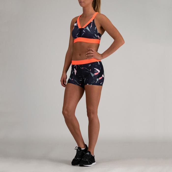 Short cardio fitness mujer azul marino estampado 500