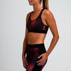 Top Sujetador Deportivo Cardio Fitness Domyos 500 mujer burdeos estampado