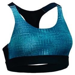Top Sujetador Deportivo Cardio Fitness Domyos 500 mujer azul estampado