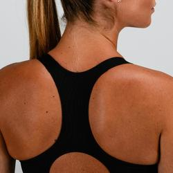 Sport-Bustier 500 Cardio-/Fitnesstraining Damen grau mit Print