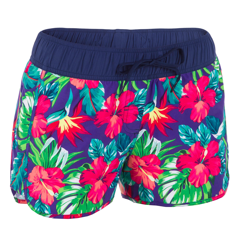 Olaian Boardshort voor dames met elastische tailleband en aantrekkoordje TINI BORA