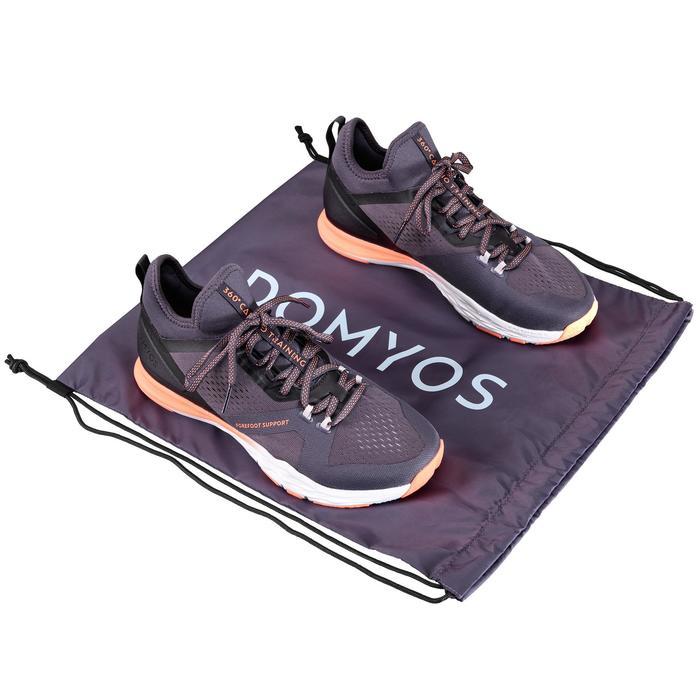 Opvouwbare schoenenzak fitness grijs paars
