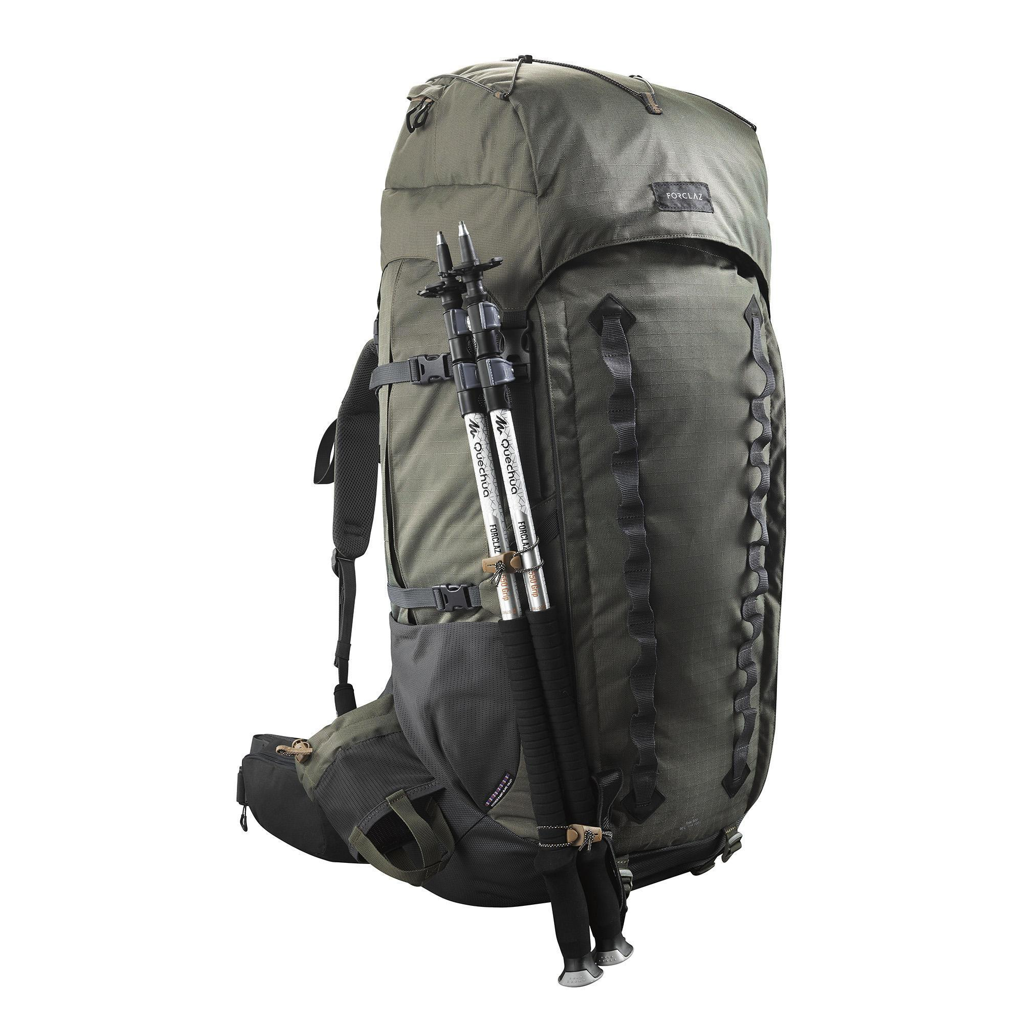 91c4e93c3ee Forclaz Rugzak voor bergtrekkings Trek 900 90+10 liter Symbium heren kaki |  Decathlon