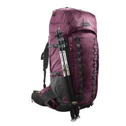 Mochila trekking montaña TREK900 70L + 10L SYMBIUM mujer burdeos