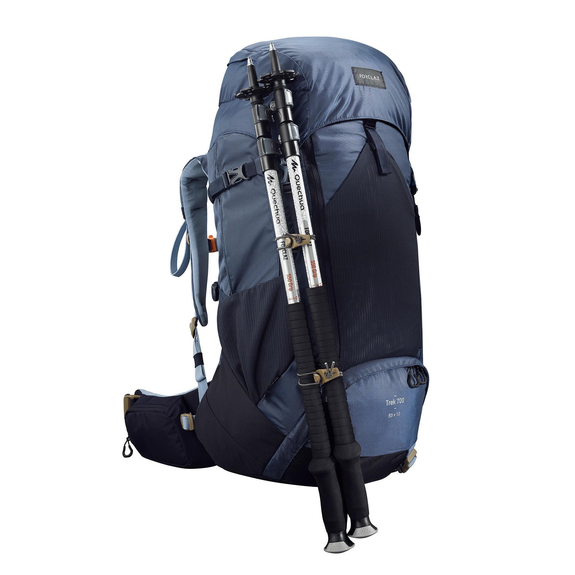 7068f278a Mochila de Montaña y Trekking Trek500 50+10 Litros Mujer Azul Forclaz