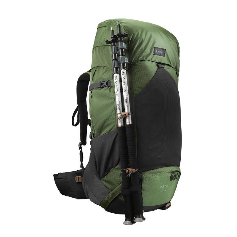 Men's mountain trekking rucksack   TREK 500 70+10L - olive - Decathlon