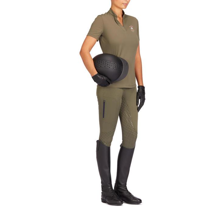 Polo manches courtes équitation femme 500 MESH kaki et corail