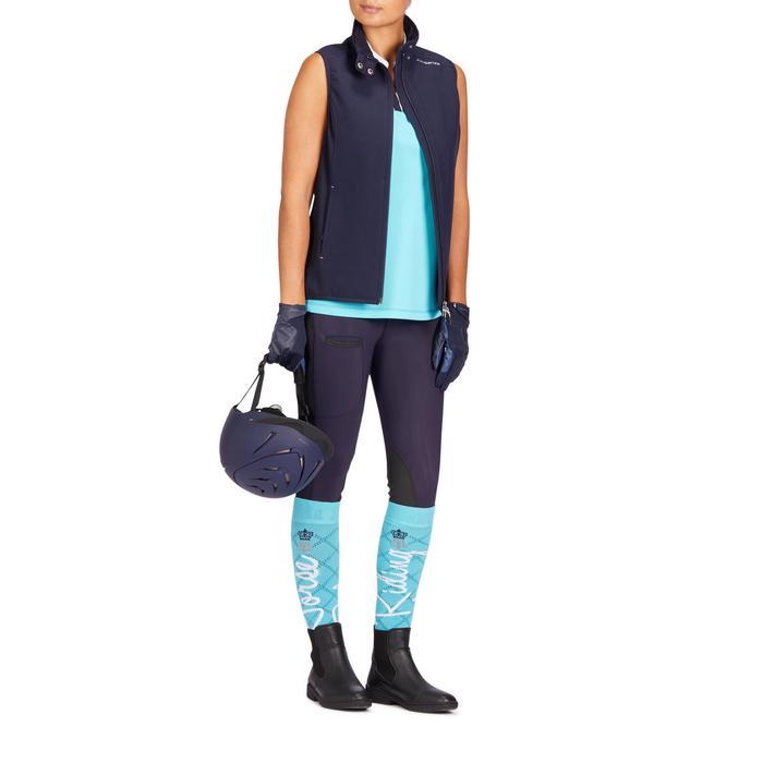 Mouwloos shirt voor dames ruitersport 500 Mesh turquoise/marineblauw