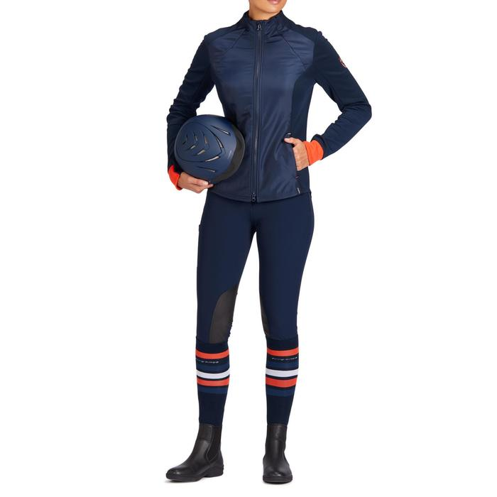 Sudadera con cremallera equitación mujer 500 azul marino y roja