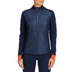 Sweatshirt ruitersport dames 500 marineblauw en rood