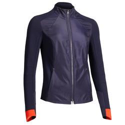 Sudadera Equitación Fouganza 500 Mujer Azul Marino y Naranja Con Cremallera