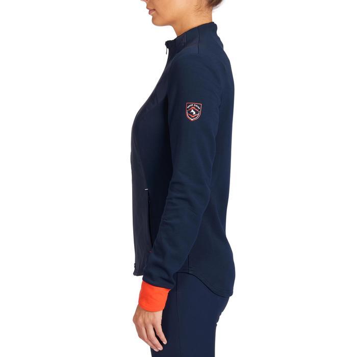 Sweat-shirt équitation femme 500 marine et rouge