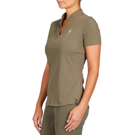 50 Mesh Women's Horseback Riding Short-Sleeved Polo Shirt - Khaki/Coral
