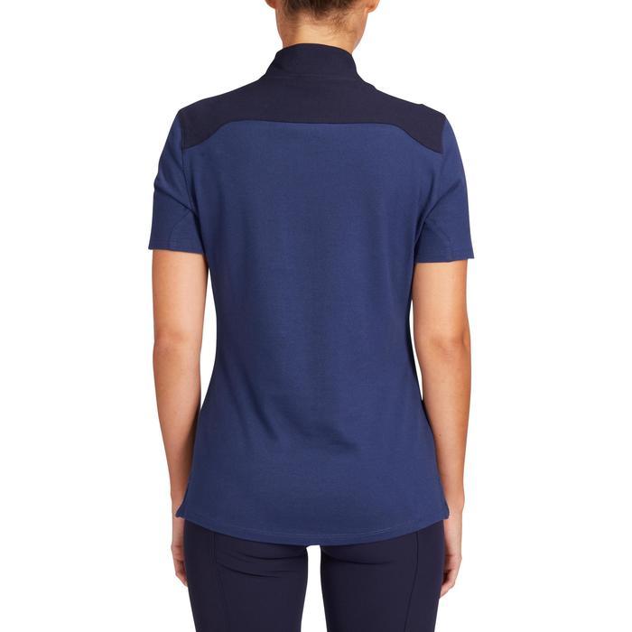 Damespolo met korte mouwen 500 ruitersport donkerblauw en marineblauw