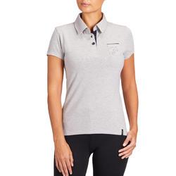 140 Women's Short-Sleeved Horseback Riding Polo Shirt - Mottled Grey
