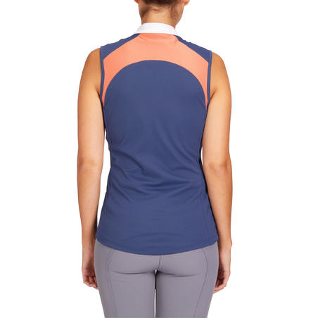 500 Mesh Horse Riding Tank Top - Bluish Grey/Orange